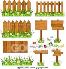 Eps Illustration Wooden Fence Set With Grass And Flowers Vector Clipart Gg82625912 Gograph