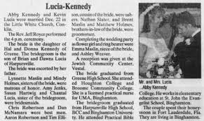 Abby Kennedy and Kevin Lucia Marriage - Newspapers.com