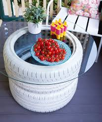 how to turn old tyres into a table