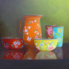 Polly Wells. Chinese Enamelware Reflections, oil on canvas 45 x 45 cm |  Still life, All kinds of everything, Still life 2