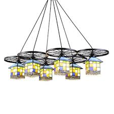 multicolored house shade pendant lamp