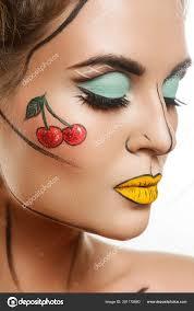 beautiful model with creative pop art