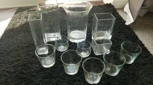 4x ikea square clear glass flower vases