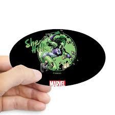 Cafepress She Hulk Punching Tumbler Sticker Sticker Oval Walmart Com