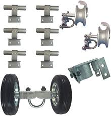 Amazon Com 6 Chain Link Wall Mounted Rolling Gate Hardware Kit Chain Link Fence Gate Parts 6 Rut Runner 2 Track Wheels 6 Wall Mounted Track Brackets 1 Rolo Latch Garden Outdoor