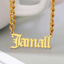 name necklace pendant gold color cuban