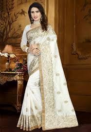 white zoya art silk designer saree