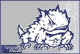 Amazon Com Tcu Horned Frogs Super Frog Mascot 1 8 Vinyl Decals Texas Christian Car Truck Sticker Kitchen Dining