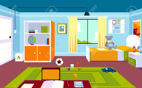 Interior Of The Kids Room In The Home With A Carpet And A Window Royalty Free Cliparts Vectors And Stock Illustration Image 125387599