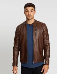 leather jacket by jack jones