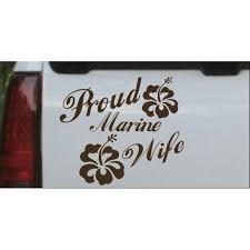 Proud Marine Wife Hibiscus Flowers Decal Car Or Truck Window Decal Sticker Walmart Com Walmart Com