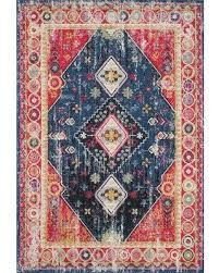 """Remarkable Deals on Bungalow Rose Melva Power Loom Navy/Red Rug X112262979  Rug Size: Rectangle 5'3"""" x 7'6"""""""