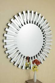 glass stylised large round mirror