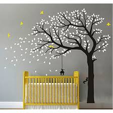 Black Tree Silhouette Wall Decal Branch And White Pine Design Large Big Sticker Palm Nursery Vamosrayos