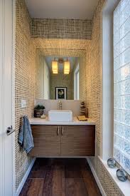 powder room with flat panel cabinets