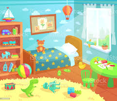 Cartoon Kids Bedroom Interior Home Childrens Room With Kid Bed Child Toys And Light From Window Vector Illustration Stock Illustration Download Image Now Istock
