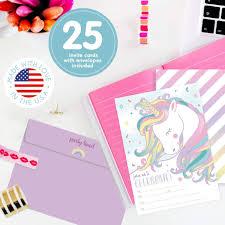 Unicornio Arco Iris Invitaciones De Cumpleanos Para Ninos