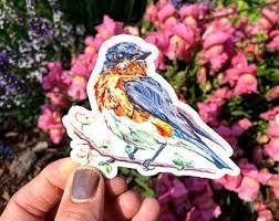 Blue Bird Decal Etsy