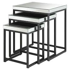 set of 3 nesting tables with mirrored