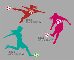 Large Soccer Girl Wall Decal Personalized With Name Number Children S Room Infant Room Decal Girls Wall Decals Soccer Room Girls Sports Bedroom