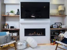 modern fireplace with white surround