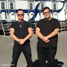 Robert Patrick and Ari Stidham on the set of Scorpion.   Scorpion ...