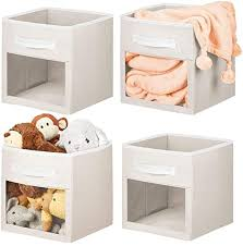 Amazon Com Mdesign Soft Fabric Closet Storage Organizer Cube With Front View Window Bin Storage For Baby Kids Room Nursery Toy Room Furniture Units 11 High Cream White 4 Pack Home