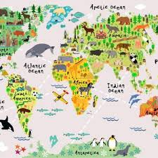 Map Of The World Playroom Decal World Map Wall Decals Kids Etsy