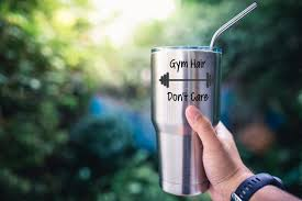 Gym Hair Don T Care Tumbler Vinyl Decal Sticker Workout Etsy
