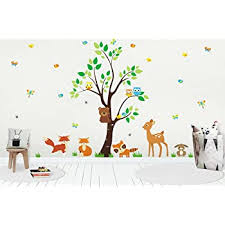 Amazon Com Forest Nursery Decals Woodland Nursery Stickers For Baby Room Wall Decals For Kids Baby Boy Decals Baby Shower Gift Animal Decals Wall Decal With Tree Kids Room Baby