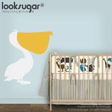 Children Wall Decal Pelican Bird Modern Vinyl Wall Decal Etsy