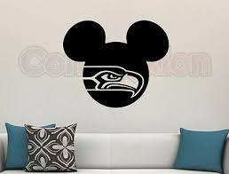 Mickey Mouse Seattle Seahawks Wall Vinyl Decal Matte Black Room Cutout Decor 23 786641391492 Ebay