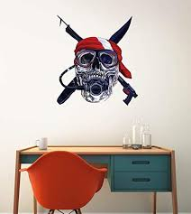 Amazon Com Gt Graphics Scuba Diver Skull Diving Flag 20 Wall Decal Large Vinyl Sticker Home Kitchen