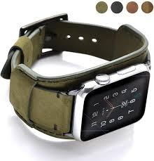 Amazon.com: Coobes Compatible with Apple Watch Band 44mm 42mm Men Women  Genuine Leather Compatible iWatch Bracelet Wristband Strap Compatible Apple  Watch Series 5/4/3/2/1 (Crazy Horse Cuff Army Green, 44/42 mm)