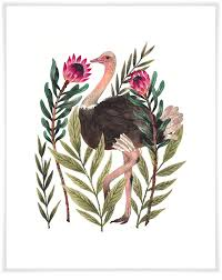Ostrich In Leaves Birds Canvas Wall Art Greenbox