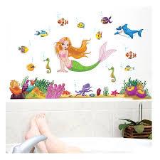 Super Deal 8fc11 Large 95 X 140 Cm Little Mermaid Underwater Wall Stickers Ocean Home Decor Kids Room Decal Bathroom Decor Cicig Co