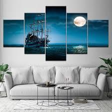 لوحة قماشية للسفن على سطح البحر للسماء الليلية 5 قطع لوحات جدارية