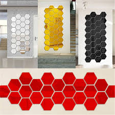 12pcs 3d Diy Mirror Hexagon Vinyl Removable Wall Stickers Decal Home Decor Art Is Personalized Newchic