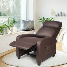 Amazon Com Kids Recliner With Cup Holder Brown Leather Sofa Chair Recliners Chairs For Children Kitchen Dining