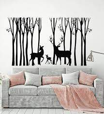 Vinyl Wall Decal Deer Family Forest Wild Animals Trees Nature Kids Roo Wallstickers4you