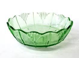green depression glass fruit bowl
