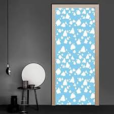 Amazon Com Wall Decal Clear Summer Sky Pattern With Clouds Dotted Background Cartoon Style Kids Design Full Door Cover Refrigerator Stickers Use For Refurbish Home Sky Blue White 36 X 79 Inch Baby