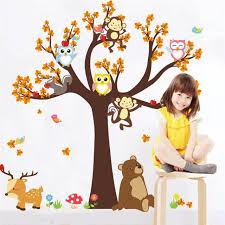 Cartoon Forest Tree With Animal Wall Decor Stickers For Kids Rooms Home Garden