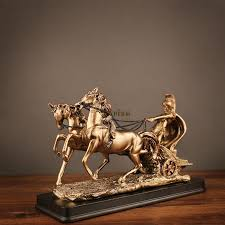 abstract vintage rome chariot figurines