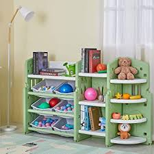 Amazon Com Albott Kids Toy Storage Organizer Children Play Collection Shelves Bookshelf Corner Rack With 6 Plastic Drawers For Girls And Boys In Bedroom Playroom Living Room Baby