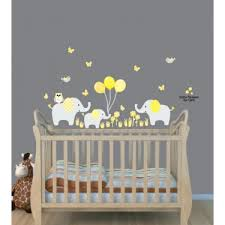 Yellow Jungle Safari Stickers With Elephant Wall Decal For Children