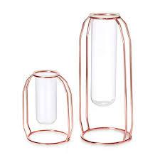 vases set of 2 metal flower vase glass