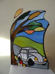 Car Lamp Stained Glass Lamp Lamp For Kids Birthday Gift Etsy