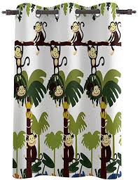 Amazon Com Amaze Home Decorative Curtains Window Drapes Monkey Jungle Printed Printed Door Treatments One Panel For Kids Bedroom Living Dining Room 52 Wx45 L Inch Home Kitchen