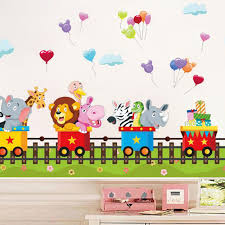 Cute Cartoon Train Wall Stickers For Kids Rooms Removable Baby Bedroom 3d Effect Window Wall Stikers Home Decor Wall Pictures Wall Stickers Aliexpress